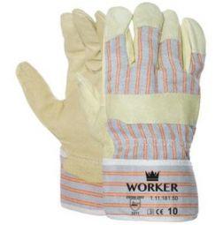- Varkensnerflederen handschoen met gestreept doek EN 388 (3211)