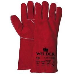 - Lashandschoen rood splitleder,EN 388 (3244)/EN 407 , EN 12477 (Type A)